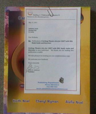 Letter from Carlong Publishers - Carlong Theatre Arts for CSEC with SBA, Study Guide and Exercises