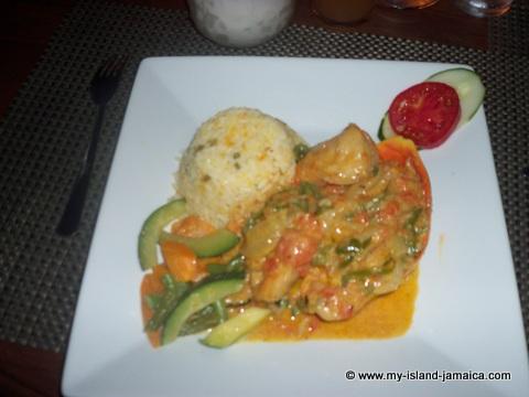 ivans restaurant - shrimp meal at catcha falling star gardens
