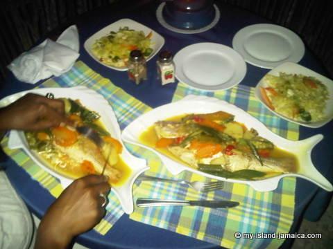 Enjoying Okra and Jamaican Steam Fish