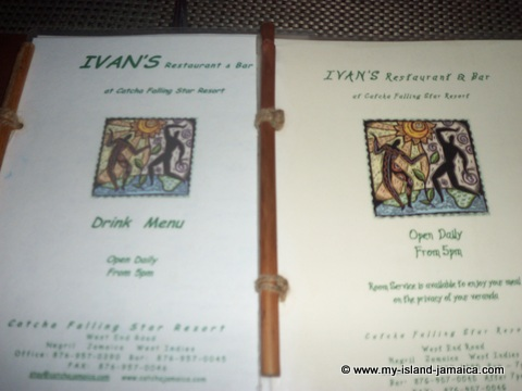 ivans restaurant menu at catcha falling star