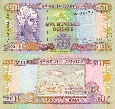 Jamaica 500 Dollars Bank Note