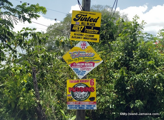 jamaica event signs on the road