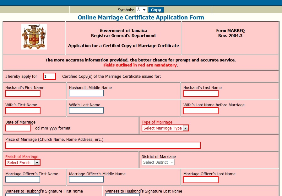 Jamaican Marriage Certificate Application