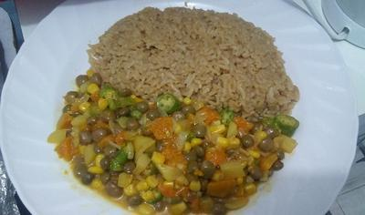 Jamaican Bean Stew and Jerk Rice