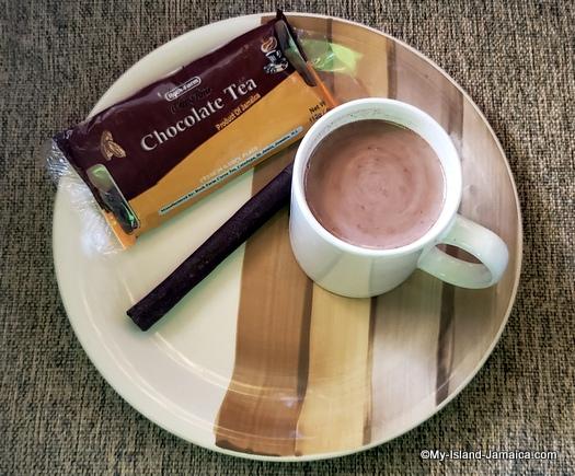 Hot Jamaican chocolate tea in cup