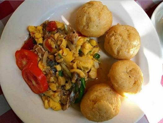 jamaican fried dumplings with ackee