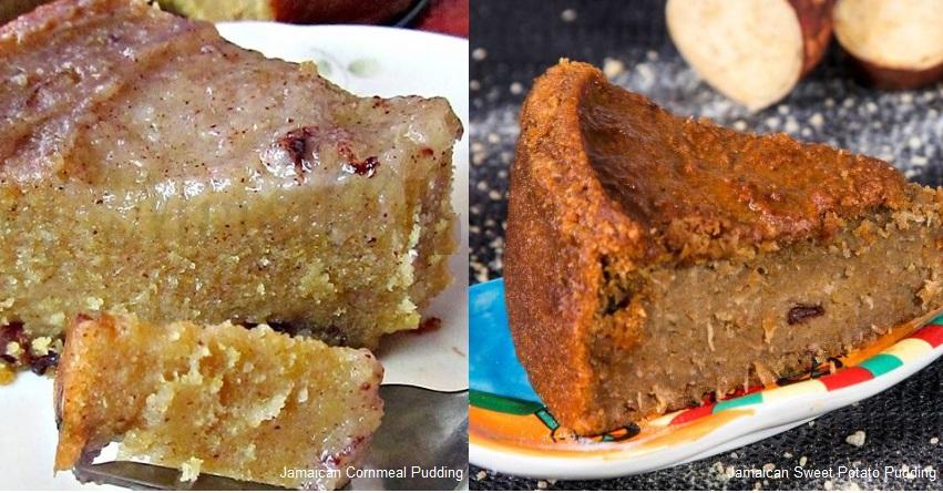 Popular Jamaican puddings - Sweet Potato and Cornmeal Puddings