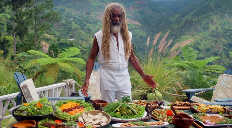 jamaican rasta man with fruits