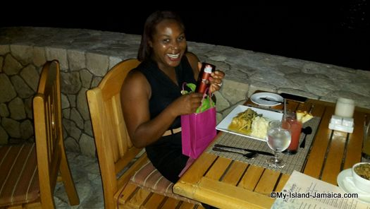 wellesley wife dining at the Blue Mahoe Restaurant in Negril