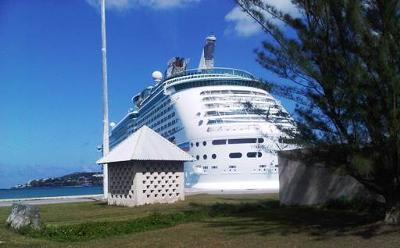 A Royal Caribbean Cruise Vessel in dock