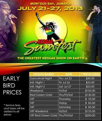 Reggae Sumfest Flyer - Ticket Prices