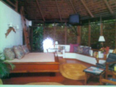 Front room inside smallest bungalow at Sea Grape Bungalows in Negril